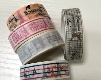 Clearance Sale: 5 Rolls of Japanese Washi Masking Tape Roll- Paris
