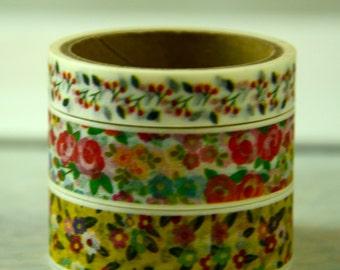 3 Rolls of Japanese Washi Masking Paper Tape - Florals