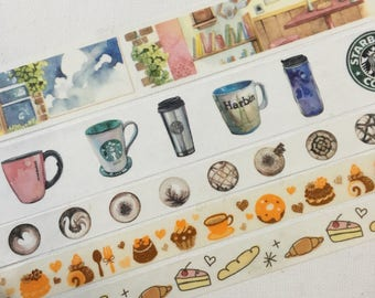 SAMPLE: 5  Designs of Coffee Limited Edition Washi Tape (1m each)