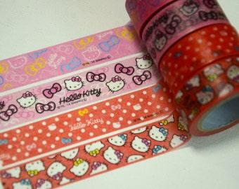 A Set of 4 Rolls Japanese Washi Masking Paper Tape: Hello Kitty