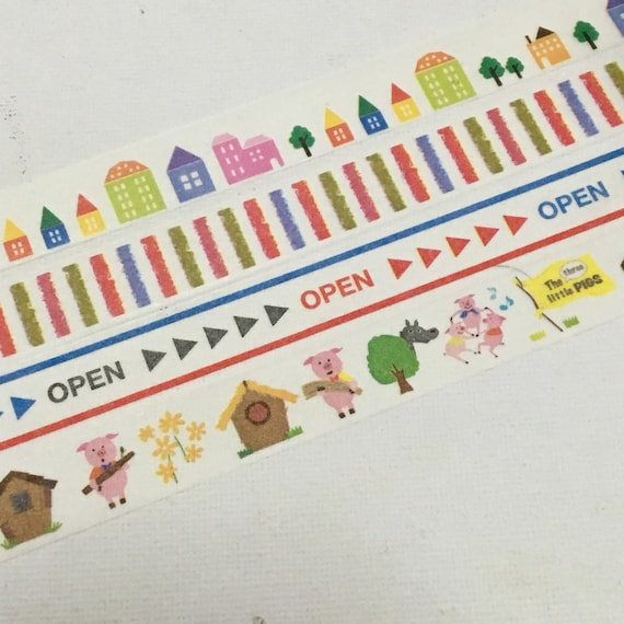 1 Roll of Washi Tape (Pick 1) - Colorful Houses, Stripes, Open Sign, Three Little Pigs