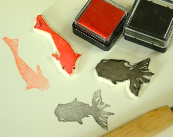 Koi Fish and Gold Fish-  Handmade Unmounted Rubber stamps