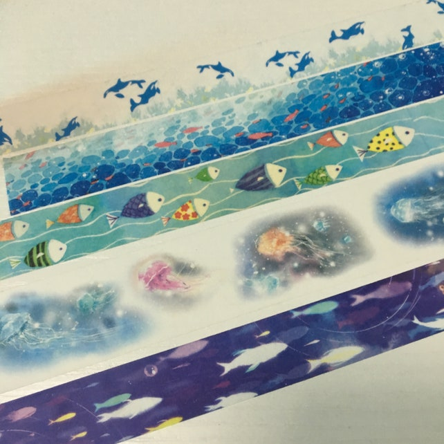 SAMPLE: 5 Designs of Ocean Life Limited Edition Washi Tape (1m each)