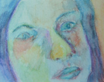 Original ACEO Watercolor Painting- Blue Face
