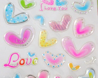 Clear Color Stickers - Hearts