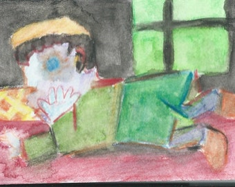Original ACEO Watercolor Painting: Lying on the floor