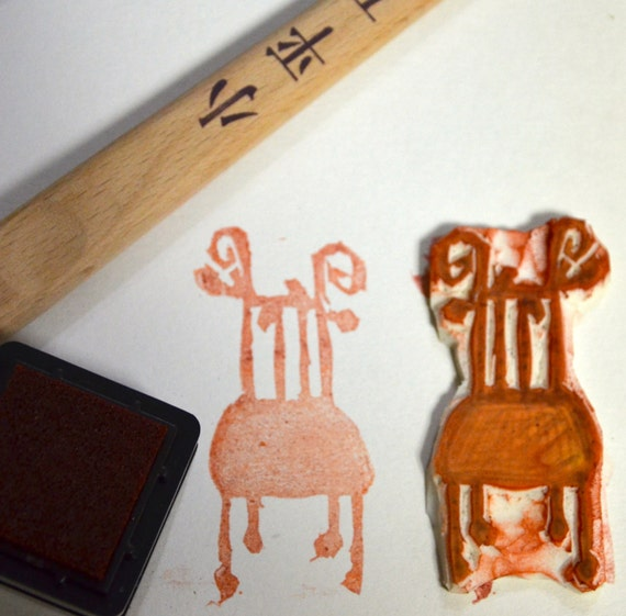 Chair- Handmade Unmounted Rubber stamp