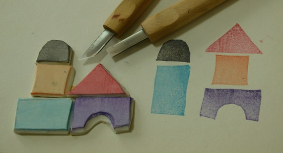5 Toy Blocks  - Handmade Unmounted Rubber stamps