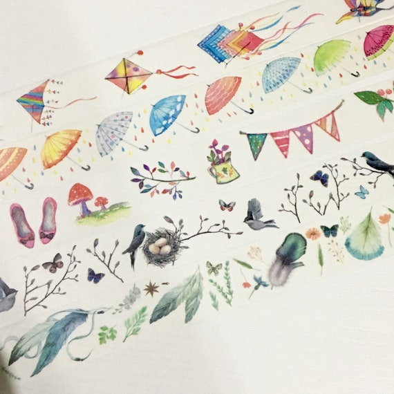 1 Roll of Limited Edition Washi Tape (Pick 1): Flying Kites, Umbrella, Zakka Goods, Bird and Nest, or Feathers