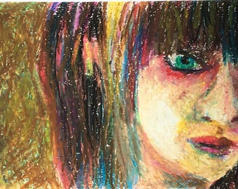 Original Oil Pastel Portrait Painting/ Illustration- In My Shadow