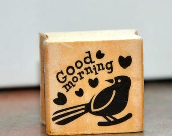 A Set Wooden Rubber Stamp- Good Morning