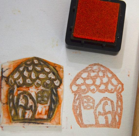 Small Hut -Handmade unmounted Rubber stamp