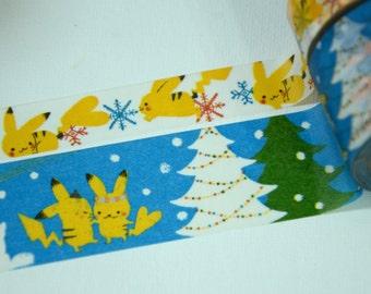 2 Rolls Japanese Washi Masking Paper Tape: Pokemon Pikachu with Snowflake and Tree