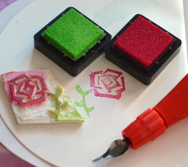 A Rose- Handmade Unmounted Rubber stamp