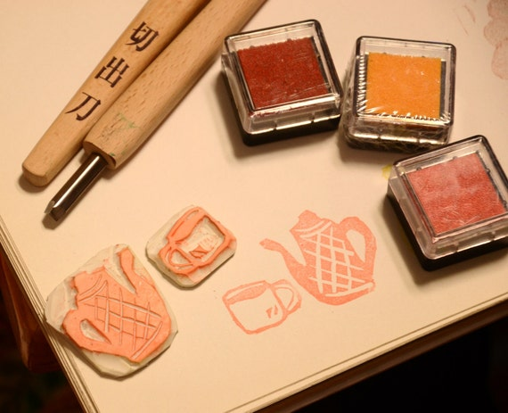 Tea Time- Handmade Unmounted Rubber stamps