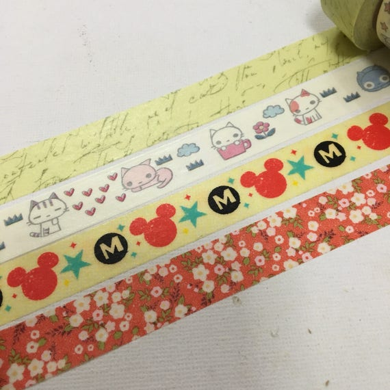 1 Roll of Washi Tape (Pick 1)- Writing Script, Happy Cat, Mickey Mouse, or Flower
