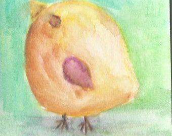 Original ACEO Watercolor Painting: Little Bird