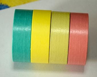 4 Rolls of Japanese Washi Masking Tape (15mm x 10m) -Plain Colors
