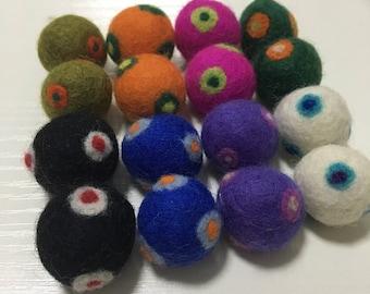 16 Pcs Double Polka Dots Wool Felt Balls (2cm)