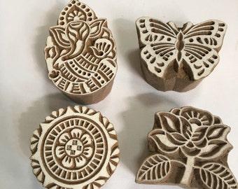 Handmade Large Handcarved Wooden Stamp / Block (Pick 1): Ganesha , Butterfly, Round Floral , or Big Flower Motifs