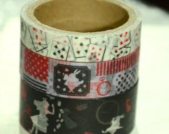3 Rolls of Japanese Washi Masking Tape Roll- Alice in Wonderland