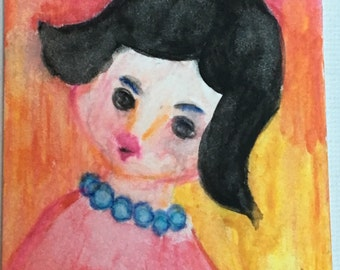 Original ACEO Watercolor Painting: Question