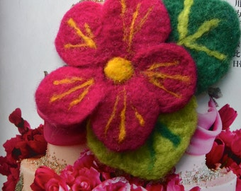 Needle Felted Flower Pin/ Hair Clip