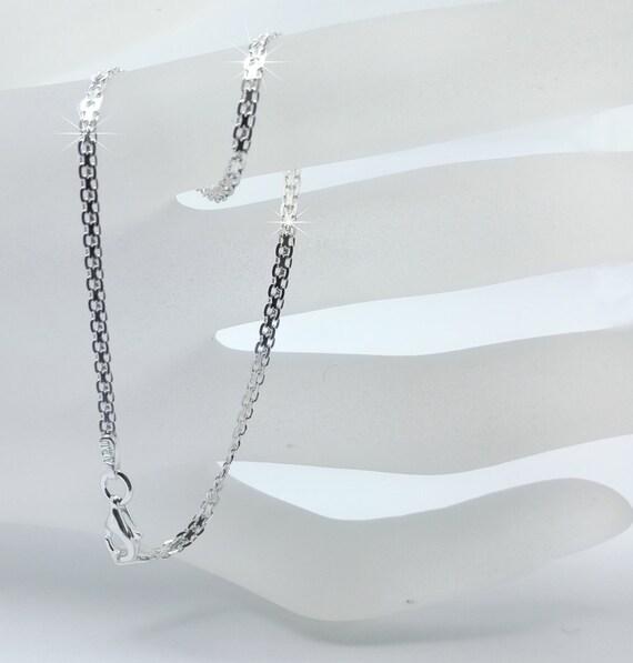 Cadena de eslabones pequeños plata esterlina 16 18 20 22 24 30 7 8 Corte De Diamante Collar D//C 7MM