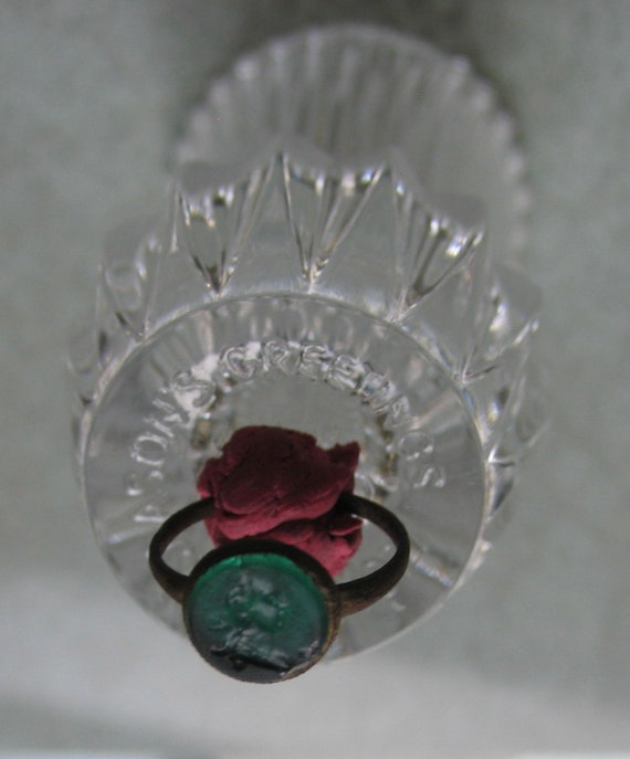 Medieval Stamp Ring • Medieval stone Ring • Green