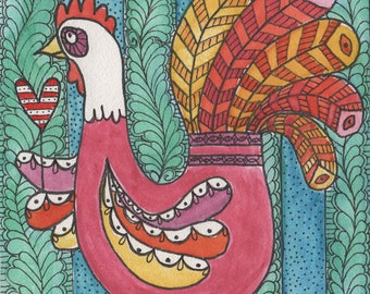 Poultry Love, original painting, folk art, hen, chicken, heart, pink, blue, feathers, rooster,