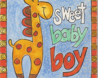 "Sweet Baby Boy original watercolor 4""x4"" on board, nursery art, baby boy gift, children's art, baby giraffe, folk art painting"