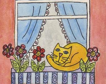Lazy Kitty, original watercolor on aquaboard, 4 x 4 inches, cat art, window, flower box, mini art, cat lover gift, yellow tabby, flowers