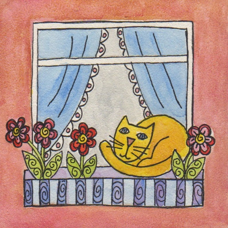 Lazy Kitty original watercolor on aquaboard 4 x 4 inches image 0