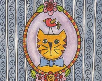 """Family Portrait original watercolor 4""""x4"""" on board, cat art, folk art, family cat, mini art, children's or nursery art, whimsical art"""