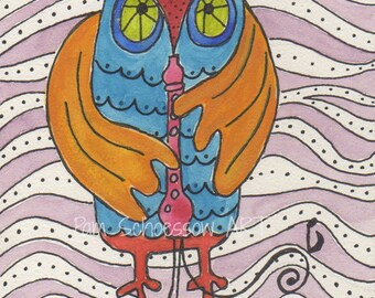 Rocky Rocks on Recorder, owl playing flute, owl art, music, making music, recorder music,flute playing, blue owl, children's art, 5x7 inches