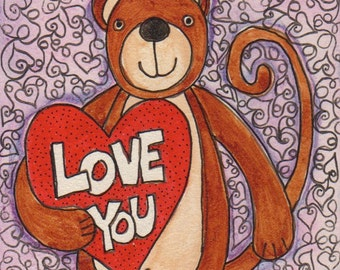 Monkey Love, Valentines Day, gift for boyfriend, gift for husband or significant other,4 x 4 inches, watercolor on board, love you, heart