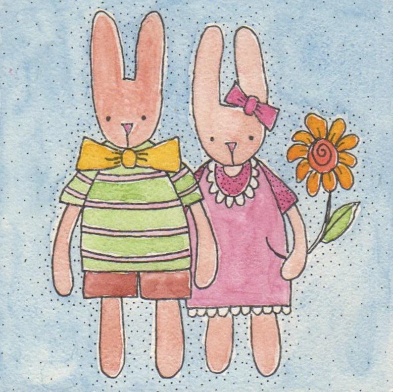 The Happy Couple original watercolor 4 x 4 on image 0