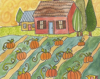 Pumpkin Harvest original watercolor 6 x 6 inches on hard board, Autumn, Thanksgiving art, house on farm, Fall colors, folk art painting, art