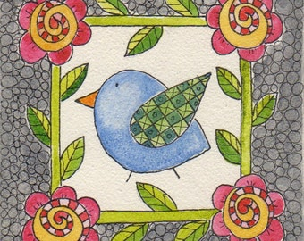 Bordered Blue Bird, original watercolor on aqua board, 4 x 4 inches, flowers, bird, whimsical, mini folk art painting, Spring, pink flowers