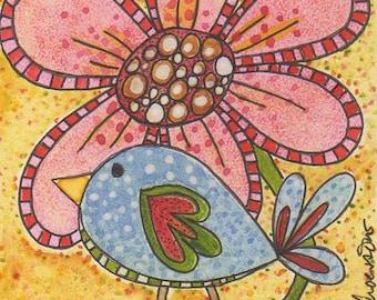 """Speckled Bird and Pink Flower original watercolor 4"""" x4"""" by Pam Schoessow, nursery art, children's art, folk art painting, Spring,Summer art"""