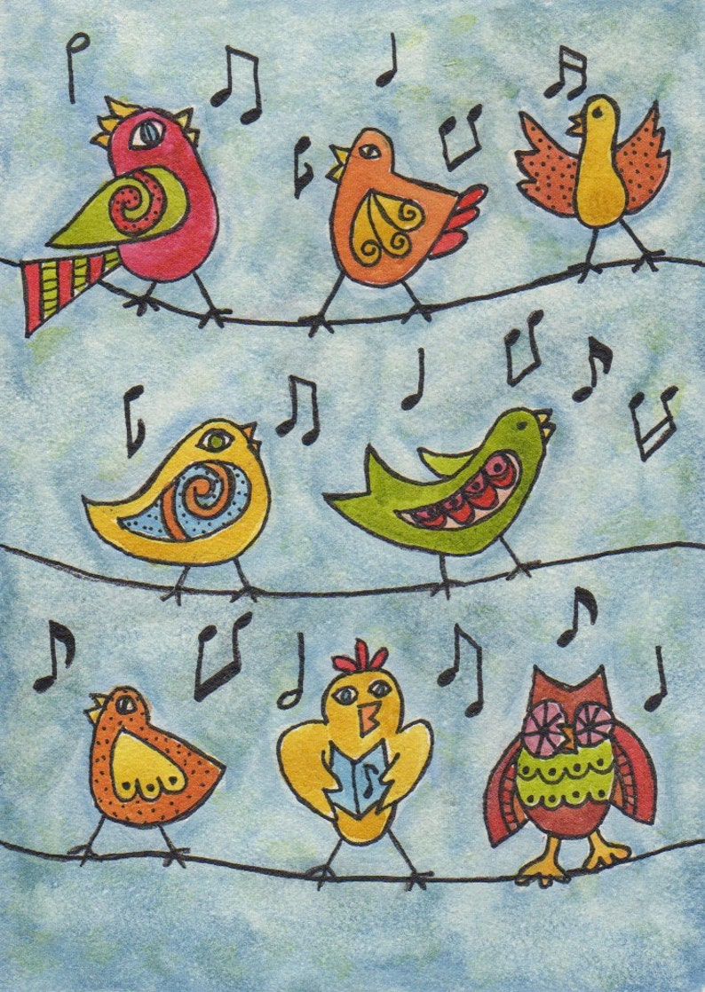 Warming up birds singing music makers birds on a wire blue image 0