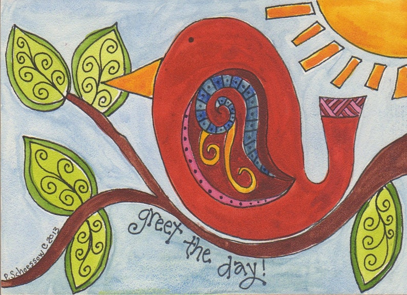 Greet the Day original watercolor by Pam Schoessow 5 x image 0