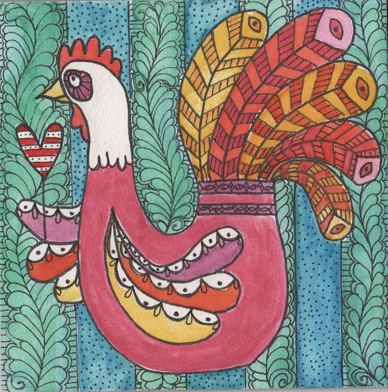 Poultry Love original painting folk art hen chicken image 0