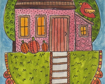 Pink House in Autumn, 5 x 7 inch original watercolor on aqua board, home, trees, red bird, pumpkins, one of a kind, Halloween, Fall, art