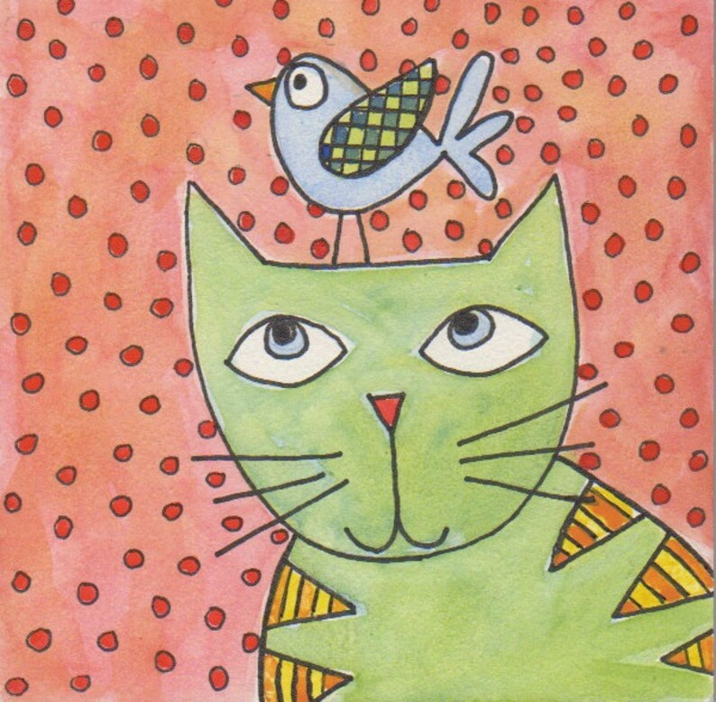 Fat Cat with Friend original watercolor on board 4 image 0