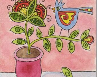 Out on a Limb, Bird art, blue bird in flower pot, pink, mini art, 4 x 4 inches, original watercolor on board, folk art bird, flowers