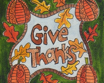 "Give Thanks, mini 4 x4 inches original watercolor painting on 1/8"" board, Thanksgiving, Autumn, pumpkins and leaves, green, orange, gift"