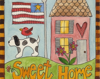"Sweet Home with Dog  Original watercolor 5"" x 5"", Americana, American flag, house, folk art painting, house,dog, bird, home sweet home, mini"