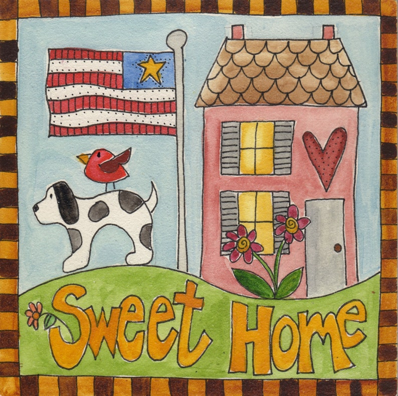 Sweet Home with Dog  Original watercolor 5 x 5 image 0