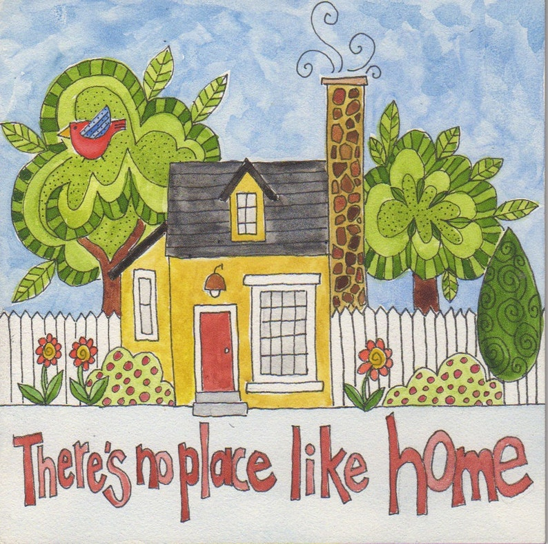 There's No Place Like Home original watercolor 6 x 6 image 0